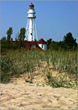 Rawley Point Lighthouse on Lake Michigan