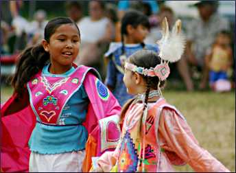 Girls dance at the Upper Sioux wacipi.