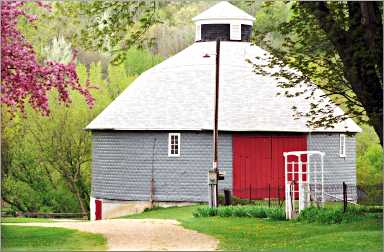 The round Evanstad barn in Vernon County.