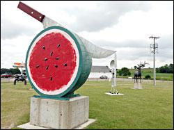 A watermelon sculpture in Vining.