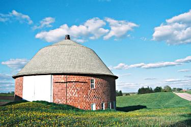 A brick round barn near Viroqua in Vernon County.
