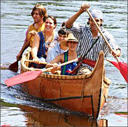 A voyageur canoe.