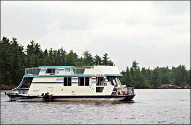 A houseboat on Voyageurs.