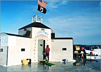 A fish house on Leech Lake during Eelpout Fest.