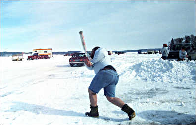 Ice baseball at Eelpout Fest.