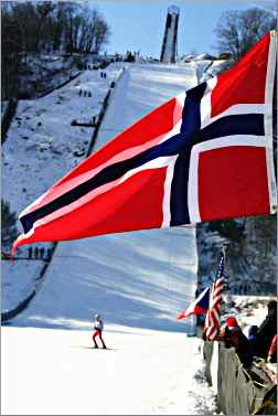 The Norwegian flag in Westby.