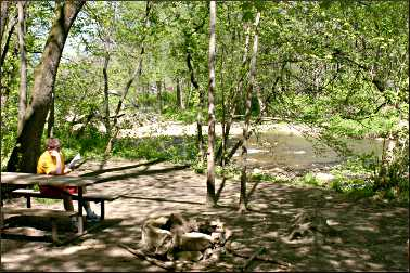 A campsite at Whitewater State Park.