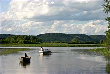 Boats on Winona's backwaters.