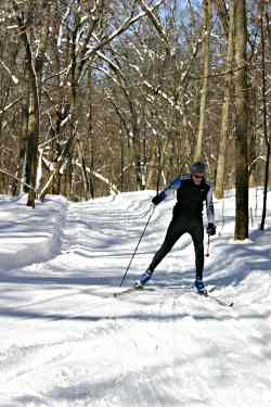 Skiers head down the ravine at St. Mary's University in Wino