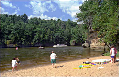 A beach on the river in Wisconsin Dells.