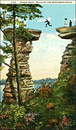 An old postcard of Stand Rock in the Dells.