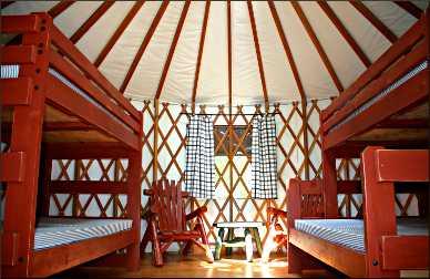 A yurt interior.